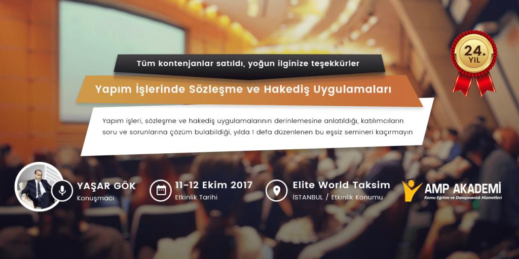 Tüm Kontenjanlar Satıldı - Yapım Sözleşme Uygulamaları Semineri 2017 İstanbul